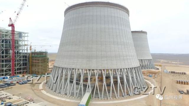 常乐电厂4乘1000MW调峰火电项目2号间冷塔顺利到顶